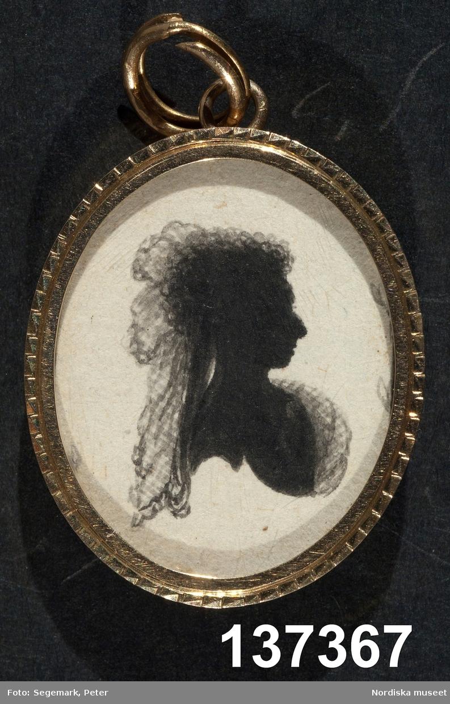 Silhuettporträtt, dam, bröstbild, profil höger.