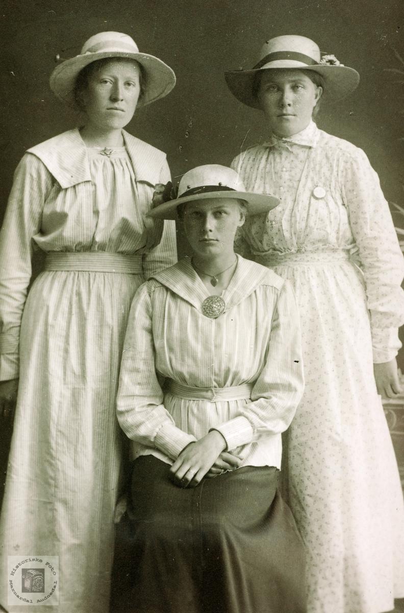 Portrett av tre venninner fra Grindheim. Audnedal.