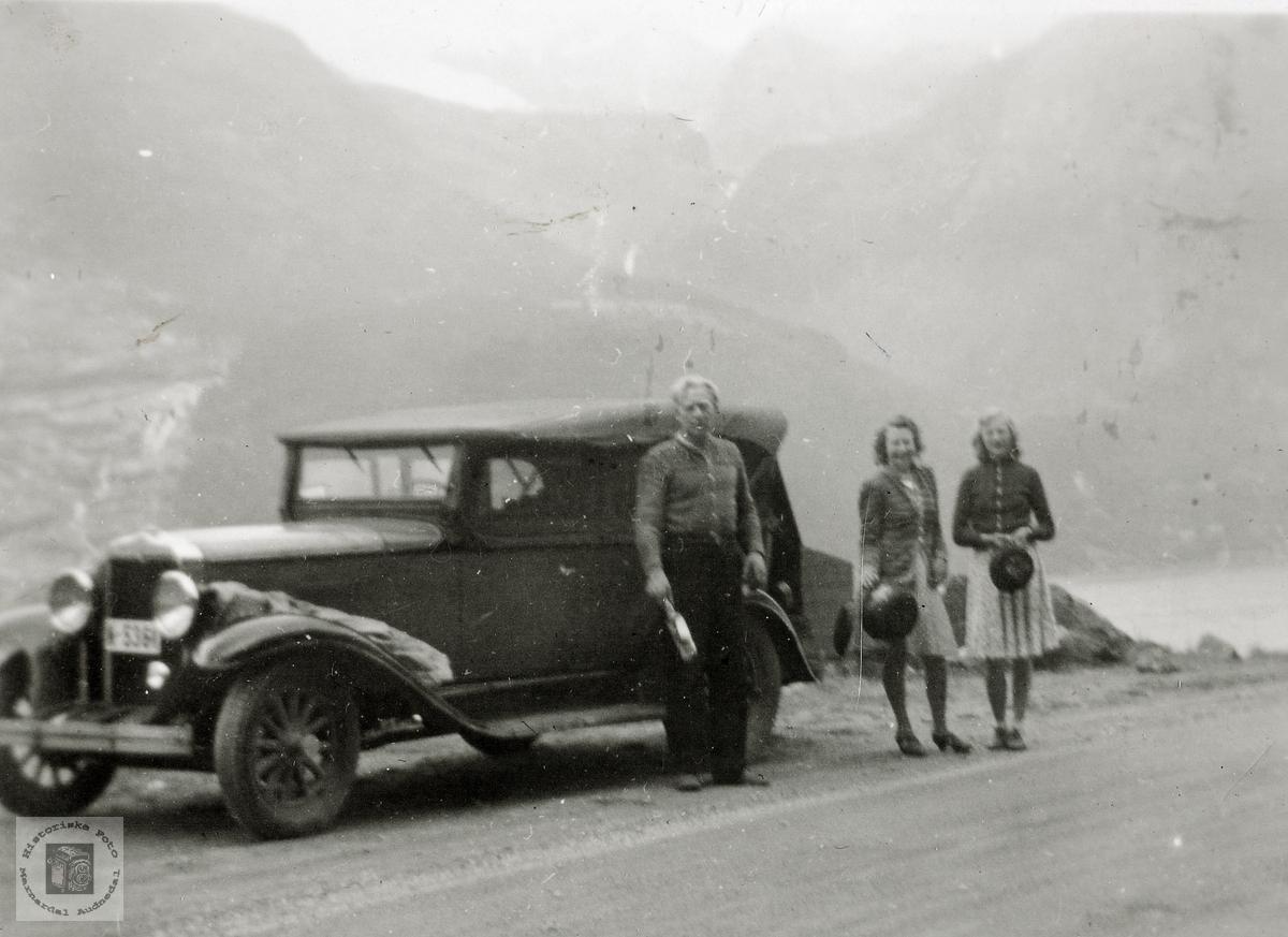 Grindheimsfolk på biltur over vidda i tåke.