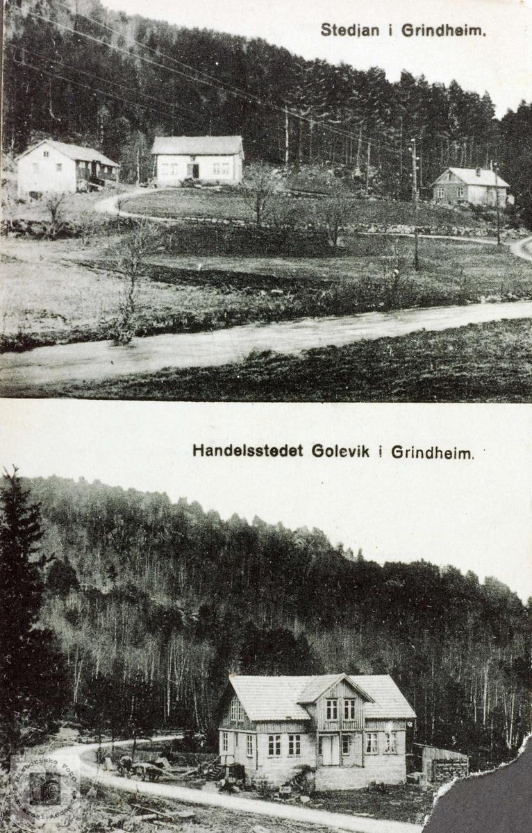 Gammelt kort fra Stedjan i Grindheim. Gammelt kort fra Golevik i Grindheim.