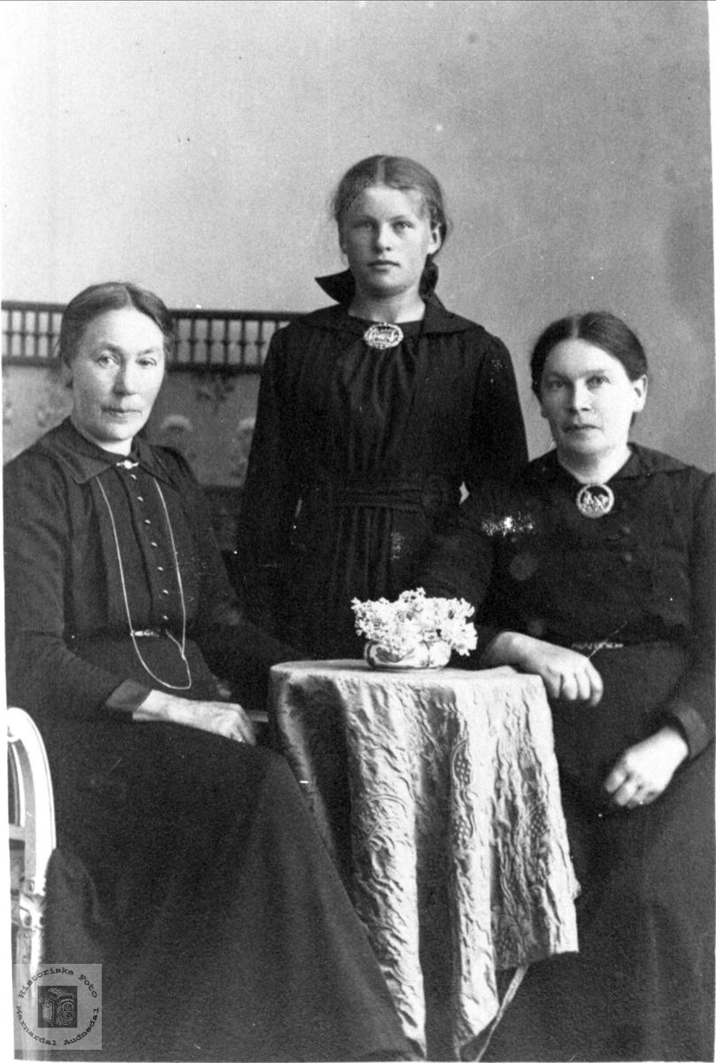 Portrett av Ingeborg Foss gift Hesså, Signe Hesså og Gunvor Tjelland g. Sundet, Bjelland.