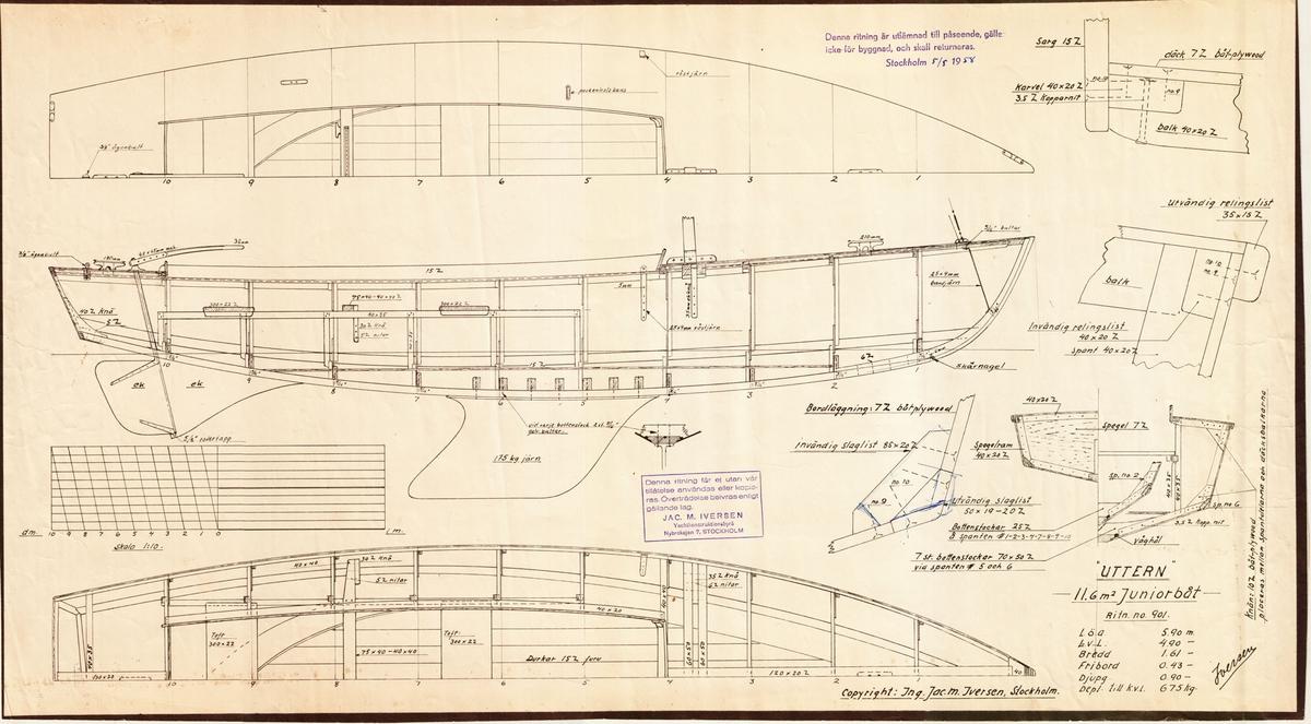 Byggnadsritning i plan, profil och sektion, samt detaljer.