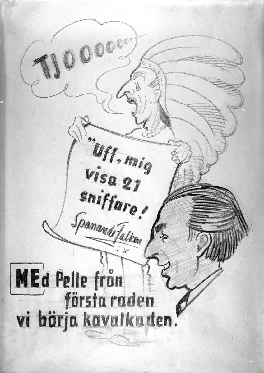 Karikatyrbild av militär ur flygvapnet, 1930-tal.  Märkt 'ME'.   Avfotograferad teckning.