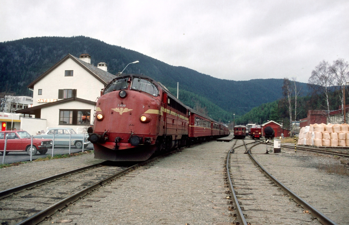 Fagernes stasjon med tog 282 i spor 1. NSB dieselelektrisk lokomotiv Di 3 630 og vogner type 3. I bakgrunnen ser man styrevogn type 91 og diesellokomotiv type Di 2, som skal gå som persontog 286 (søndagstog) til Eina senere.