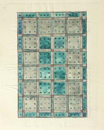 """Fem skisser med förslag till tät rya till Ekeberga kyrka, Kosta.GHKL 4097:1 Förslag till tät rya till  Ekeberga kyrka 2,20 x 3,20 m. Skisstorlek ca 20 x 30 cm skala 1:10. """"2,20 x 3,20 m à 275:-, 1936:-"""".GHKL 4097:2 Förslag till tät rya till  Ekeberga kyrka. Skisstorlek ca 20 x 30 cm skala 1:10. """"Motiv från det gamla dopfatet"""". GHKL 4097:3Förslag till tät rya till  Ekeberga kyrka 2 x 3 m. Skisstorlek ca 20 x 30 cm skala 1:10. """"Motiv från det gamla dopfatet"""". Skissen är märkt nr 2.GHKL 4097:4Förslag till tät rya till  Ekeberga kyrka 2,20 x 3,20 m. Skisstorlek ca 22 x 32 cm skala 1:10. """"Motiv från det gamla dopfatet"""". Skissen är märkt nr 3.GHKL 4097:5Förslag till tät rya till  Ekeberga kyrka 2 x 3 m. Skisstorlek ca 20 x 30 cm skala 1:10. Skissen är märkt nr 5.BAKGRUNDHemslöjden i Kronobergs län är en ideell förening bildad 1990. Den ideella föreningen ersatte Kronobergs läns hemslöjdsförening bildad 1915.Kronobergs läns hemslöjdsförening hade butiksverksamhet och en vävateljé med anställda väverskor och formgivare där man vävde på beställning till offentliga miljöer, privatpersoner och till olika utställningar.Hemslöjden i Kronobergs län har idag ett arkiv med drygt 3000 föremål, mönster och skisser från verksamheten och från länet. 1950-talet var de stora beställningarnas tid och många skisser och mattor till kyrkorna kom till under detta årtionde."""
