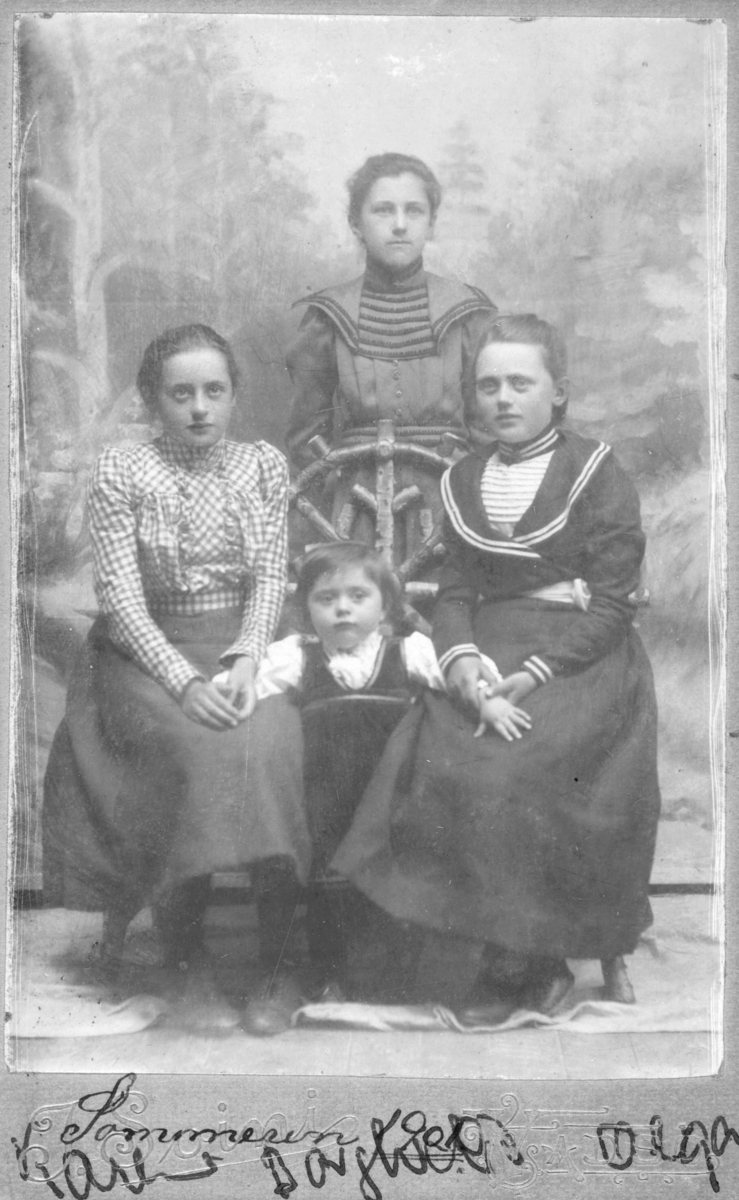 """Portrett av tre unge kvinner, fra venstre: Karen Balke (sittende), Borghild Steen (stående bak) og Olga Marie Pedersen (sittende). Mellom Karen og Olga står et lite barn, Alma Schwartz. Jenta er 2 år gammel på bildet. Gruppen er plassert foran en tidstypisk, malt bakgrunn (skogmotiv). Karen Balke og Borghild er kledd i lange skjørt og bluser, Olga Marie har tidsriktig matroskjole på.  Alma er kledd i en liten barnebunad/folkedrakt. På bildet står det ogs Sommeren 1901 og fornavn på de tre store jentene. Almas far var Peter Karlsen Schwartz, født i Italia i 1860, oppført som """"handelskarl og kvaksalver"""" i folketellingen i Vadsø kjøpstad for 1900 og mor Emilie Kristine Schwartz, født 1878 i Brønnøysund, Nordland. De bodde da på hjørnet av Kirke- og V. Andersensgate i leilighet i 1.etasje."""