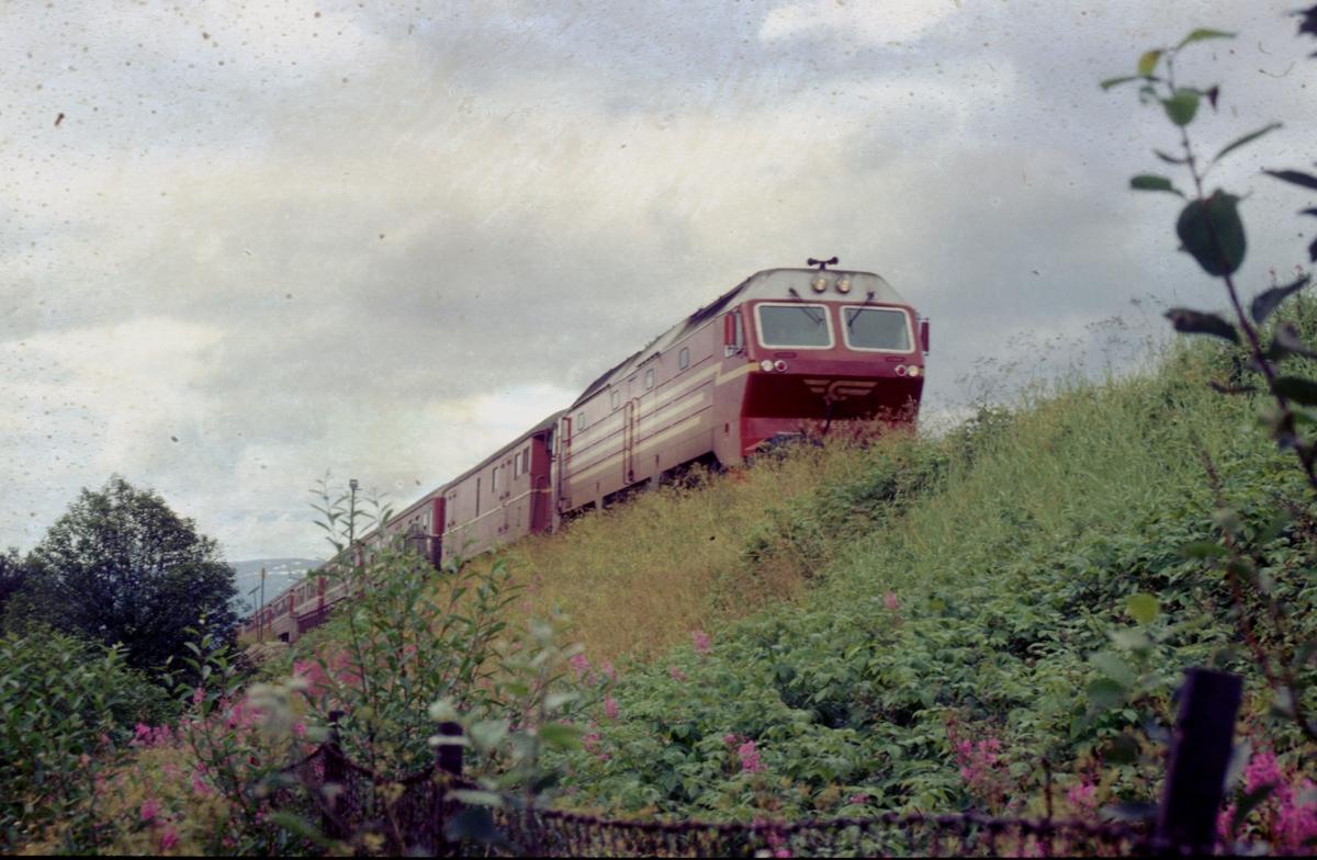 Sørgående dagtog 452 Bodø - Trondheim med NSB dieselelektrisk lokomotiv Di 4 kjører ut fra Mosjøen stasjon.