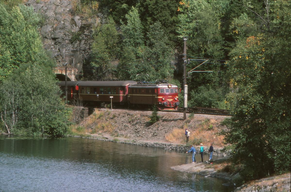 Persontog 282 Fagernes - Oslo kjører inn på Movatn stasjon. NSB elektrisk lokomotiv type El 11.