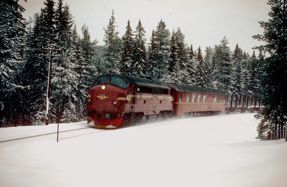 Godstog Eina - Fagernes med NSB dieselelektrisk lokomotiv Di 3 632 og konduktørvogn type BF 13 rett før Trevatn holdeplass.