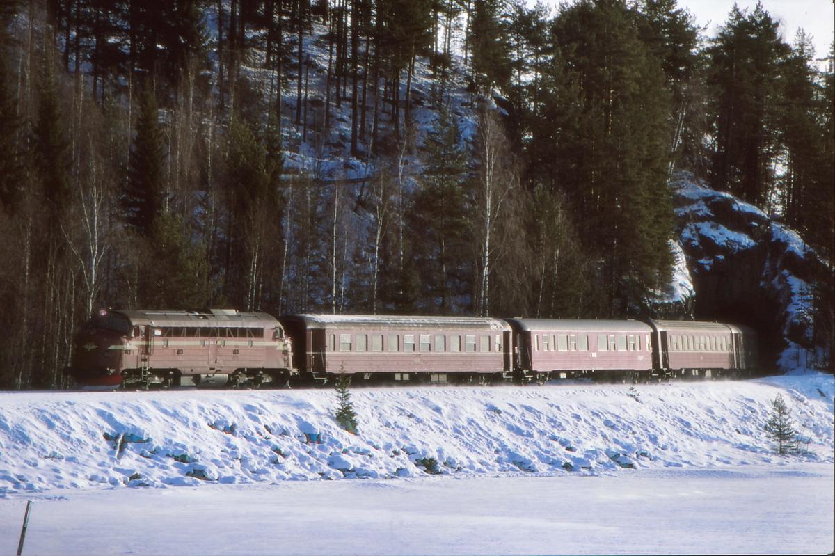 Tog 281 (Oslo S - Fagernes) på vei inn mot Fagernes stasjon, Valdresbanen.