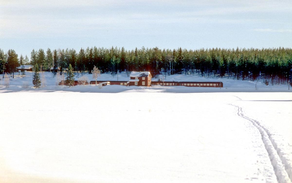 Trevatn stasjon med tog, sett fra vannet.