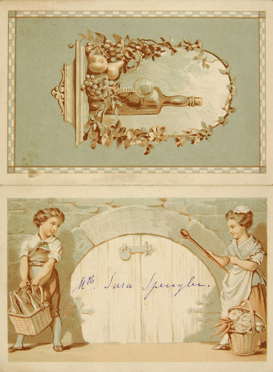 Menykort fra forlovelsen mellom Fredrik (Fritz) Herman de Spengler og hans første kone.