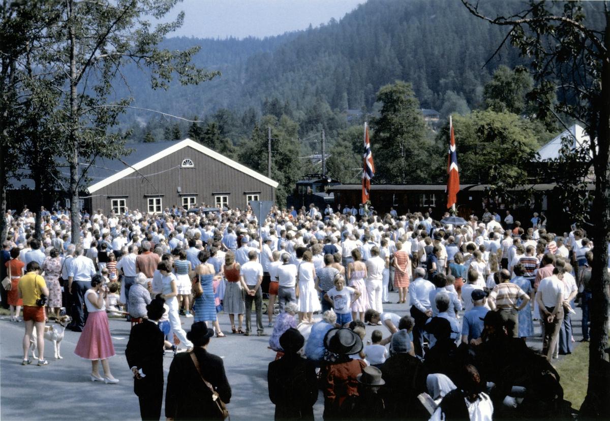 Åpningsfest i anledning gjenåpningen av Thamshavnbanen som museumsjernbane 10. juli 1983.