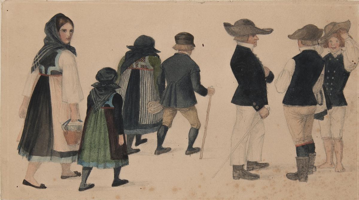 Dräkt. Akvarell. Flera dräktklädda i sällskap, olika kön och ålder. En man är barfota. Akarell av Brummer.