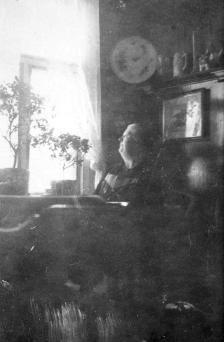 En dame sitter ved et bord ved vinduet. Det er lyse gardiner og blomster i vinduene. Bak henne henger det et bilde på veggen. Over det er det hyller med pyntegjenstander.