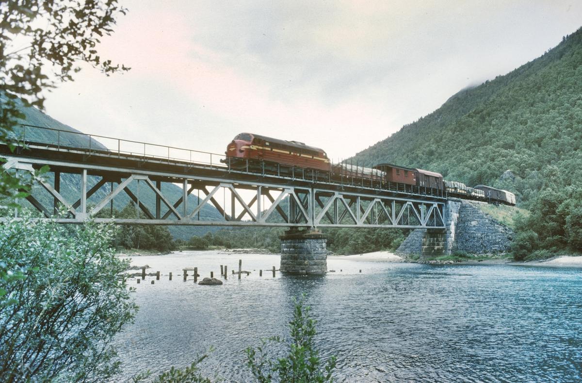 NSB godstog passerer Foss bru over elven Rauma i Romsdalen.