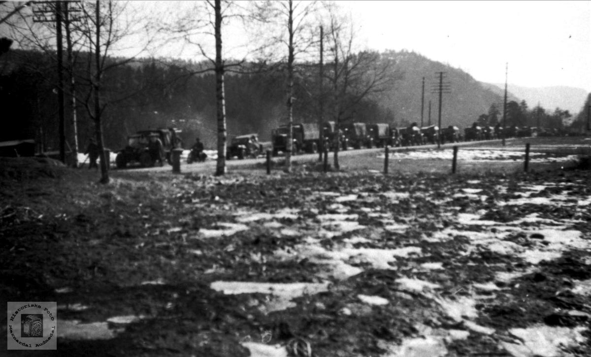 Tysk kollonne på Bjelland i mai 1940