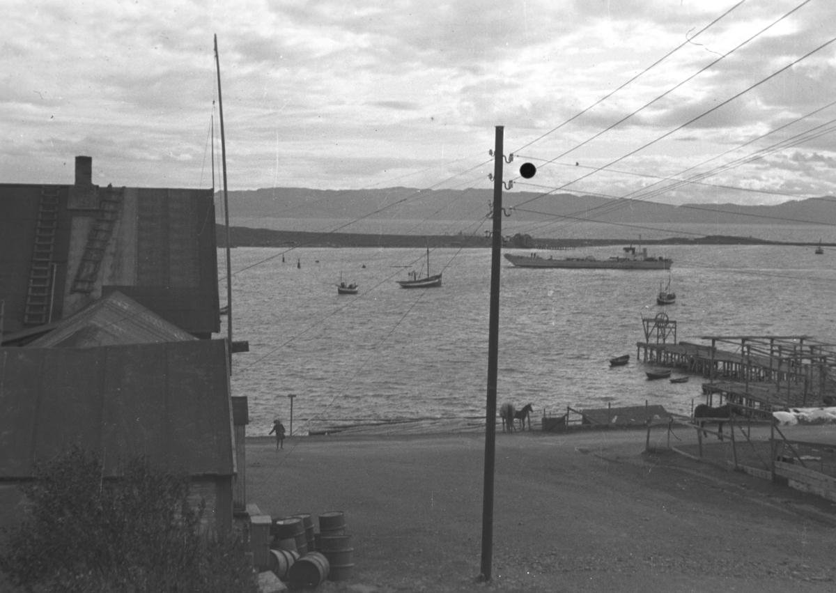 Et stort skip og flere mindre fiskebåter i Vadsø havn. Helt til høyre på bildet ses Bekola-kaia som stikker ut i sjøen.