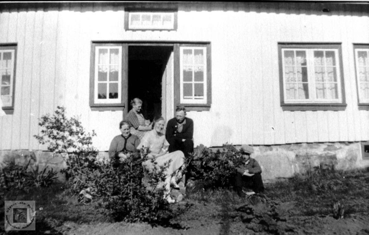 Gardsfolk på framtrappa, Tjomsland.