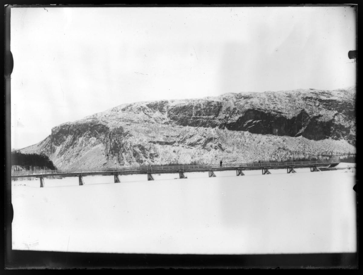 Her er et bilde av Tangen bro i Alta tatt om vinteren. Et lignende bilde er tatt om sommeren. Se 82019-001. Dette bilde er nesten helt likt -002.  Avd. ing. Thomas Fredrik Weiby Barth jobbet i Statens vegvesen i Finnmark fra 1899 til 1904.  Bildet er tatt i denne perioden.