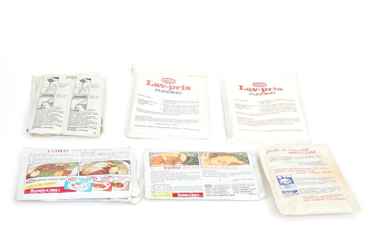 6 små poser med diverse halvfabrikert mat: Pudding, fromasj etc.