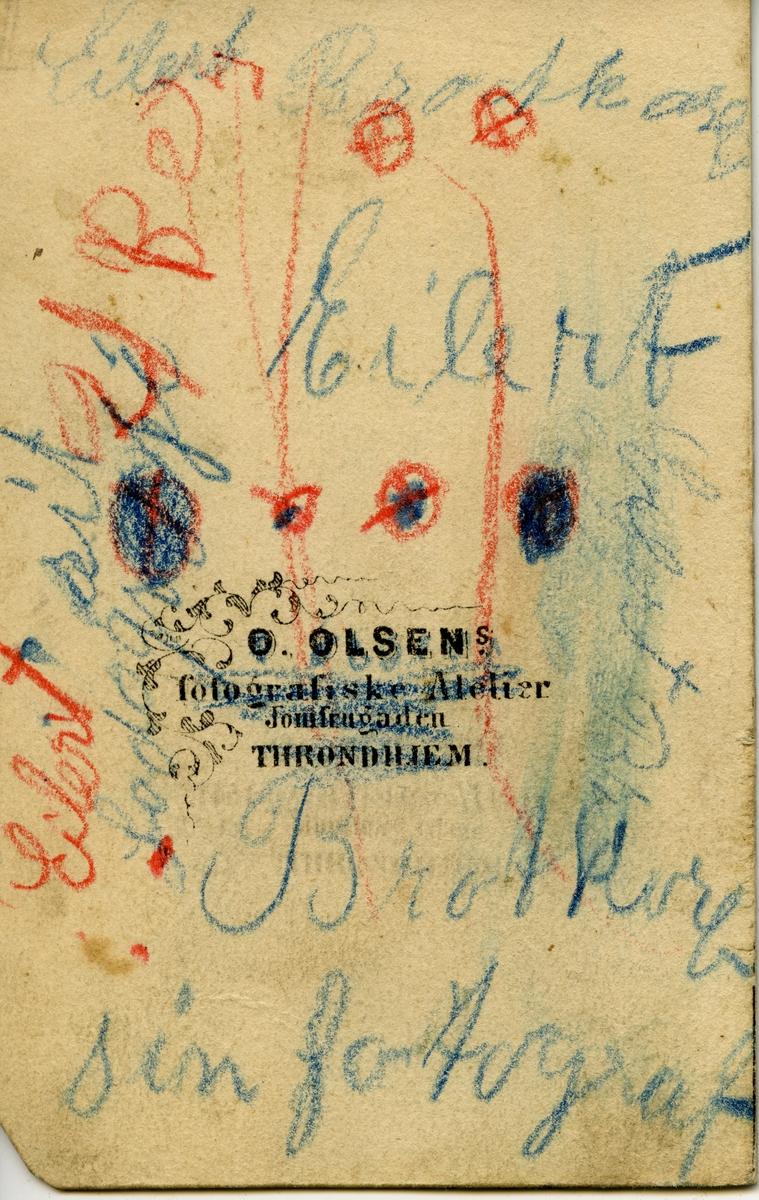 Portrett av en liten gutt, Eilert Brodtkorb. På bildet er han ca 5 år gammel og sitter på en stol. Bak stolen kan vi se foten til nakkestøtten. Gutten er kledd i en mørk dress. Dette bildet er gammel, tatt ca 1857