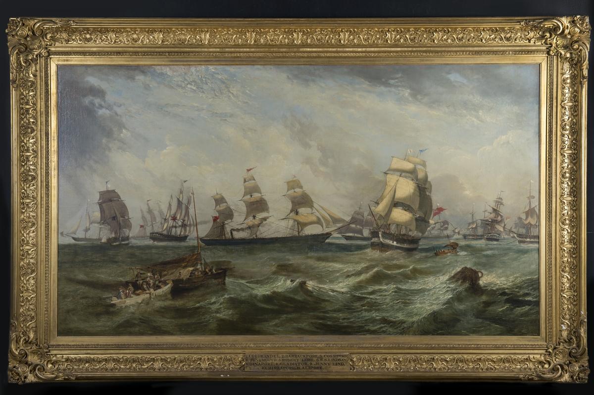 Fartyg ur W.S. Lindsay & C:o handelsflotta, målad ca 1854-55. Ångfartyg med hjälpsegel omgivet av 10 segelfartyg, namngivna i ramtext. Till höger ankarboj. Målningen beställd av köpmannen och redaren William Schaw Lindsay.  Förgylld ornerad ram. Duk i kilram. Osignerad.