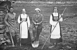 Fire kvinner, bunad, rive, hakke og spade