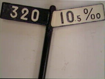 Lutningsvisare ,ed svartmålad gjutjärnsstolpe med 2 vingar, den ena svartmålad med vit text 320 och den andra vitmålad med svart text 10,5 0/00. Baksidan av vingarna har vitmålad text på ena 299, och på andra svartmålad text på vitt 0 0/00.