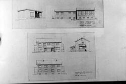 Tegninger av Rødde ungdomsskole av arkitekt Torleiv Vold og