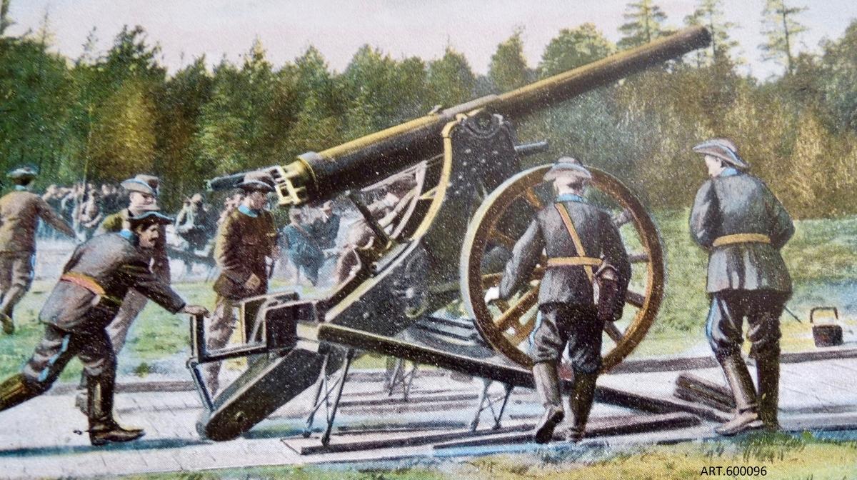 """Kanonen tillhör det nya positionsartilleriet vars första pjäs var 12 cm kanon m/1879 . Det skulle utnyttjas för bestyckning av fästningar, tillfälliga försvarsställningar, för belägringar och även för förstärkning vid anfall.   m/ 1879 var ett första försök som inte hängde med i den snabba utvecklingen vid denna tid. Nytt kemiskt krut tillkom, liksom, även med koppling till nya krutet, eldrör av stål som tålde starkare laddning och som då kunde nå längre.  En ny konstruktion köptes av Krupp. På denna, benämnd m/1885, var hjulen av en förstärkt typ (senare ytterligare förstärkta till den typ som finns idag på museets kanon) och eldröret helt av stål.  För att underlätta svansning (sidinriktning) infördes en särskild på marken baktill liggande svansplatta. Inledningsvis togs rekylen upp genom stora rekylkilar på vilka pjäsen rullade upp, bromsades upp och rullade tillbaka igen till skjutläget. Se särskild bild från en skjutning och bild med en på museet tillverkad kil, efter gammal ritning, helt av trä, ca 4 meter lång och tung.  På fast underlag fästes en streckskiva som underlättade inriktning i sida samt senare, fästes i golvet en rekylbroms av kompressionstyp som radikalt minskade rekylen och enbart en mindre rekylkil blev nödvändig. (Se bilder för 16 cm kanon m/1891.) Från 1916 gjordes försök, och infördes för vissa, dessutom hjulbälten vilka infördes för att minska hjultrycket som gjorde att man vågade gruppera i något sämre underlag. (Hjulbälte finns i samlingarna för 16 cm haubits m/1885, se bild.) Föreställaren för att få kanonen 4-hjulig vid transport var av enkel """"sadeltyp"""" (även kallad framvagn).   Eldröret lyftes ned i transportläge genom den till batteriet tillhörande kranen. Se bild av kran-  ingen finns bevarad. DATAKaliber 117 mm, totalvikt 2 485 kg, max Vo 475 m/s, skottvidd 8,5 km, eldröret räfflat vänster 35 räfflor.  54 tillverkades inklusive två försökspjäser varav 12 av Krupp och resten, på licens, som delades mellan Bofors och Finspång."""