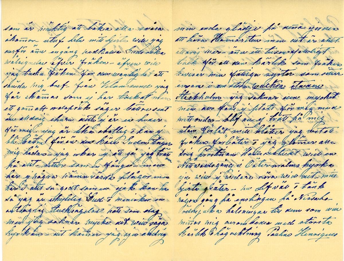 Brev skrivet 1905-03-31 till Ester Hammarstedt. Brevet består av fyra skrivna sidor på ett vikt pappersark. På grund av fläck går det inte att identifiera vem brevet är skrivet av. Handskrivet i blått bläck