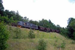 Elektrisk lokomotiv El 14 2179 med kalktog ved Heistad