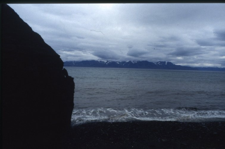 En strand utmed Isfjorden. Angöringsplatsen för det så kallade Svenskhuset vid Kapp Thordsen.