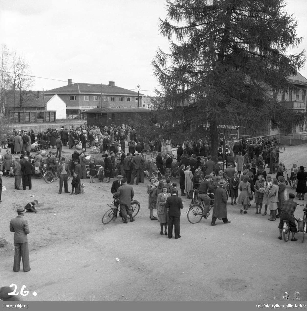 Grini-fangene kommer hjem ved frigjøringen, Askim  9. mai 1945.