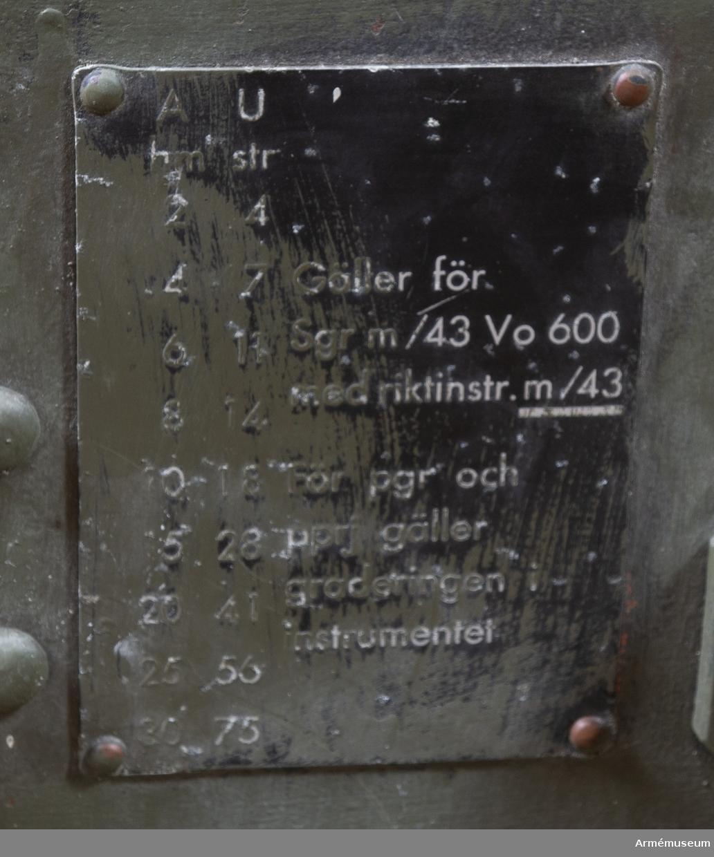 Pansarvärnskanon m/1943, system Bofors, med tillbehör. Vikt: 975 kg. Kaliber: 57 mm. Tillv.nr: 166. Eldrörets vikt: 310 kg, märkt: 57 mm pvkan m/43 B Bofors 1946 B vikt 310. Stålhjul med halvmassivgummihjul, d:700 mm. V -lavett. Kikarsikte m/1943, Nr:161. Största skottvidd: 8500 m. Rekylkraft: 2100 kg. Tillbehör: 1 pjäslåda nr: 161 (11 904 62000), 1 pjäsväska nr: 161 (11 904 61000), 1 kikarlåda med kikarsikte m/1943, nr:161. M4805-751011, 1 rengöringskolv, 1 viskare, 1 viskarstång med fodral av väv, 2 draglinor, 1 kapell för pjäs, 1 mynningsskydd av väv, 1 ren av läder med spänne och krok.