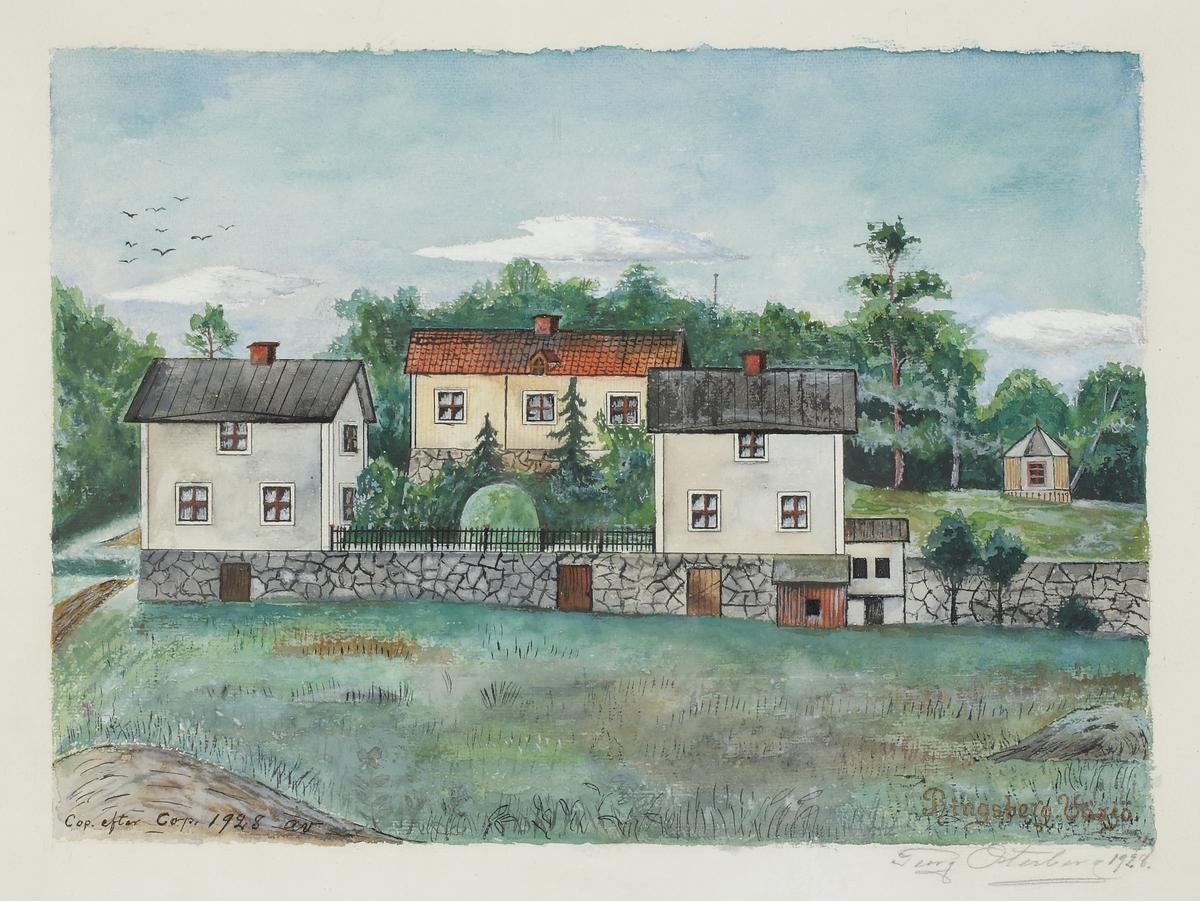 Akvarellmålning.  Ringsbergs gård, Växjö.