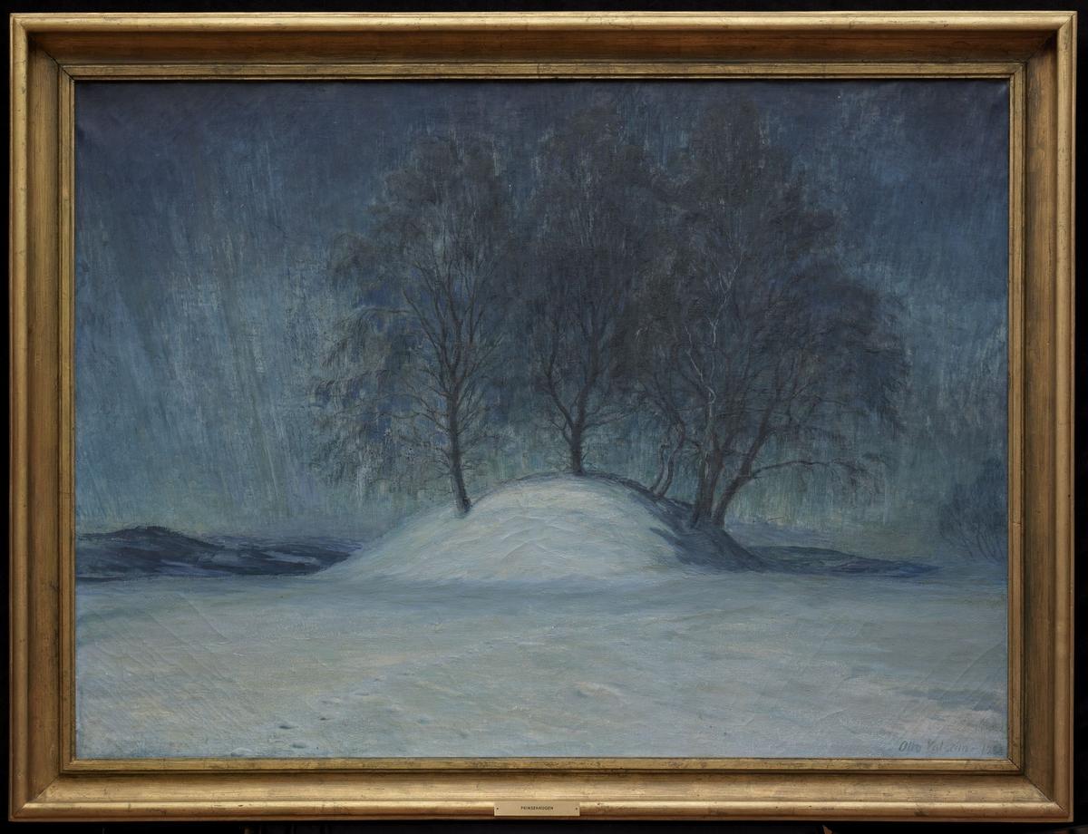 Snelandskap i måneskinn, haug m. nakne trær, blått