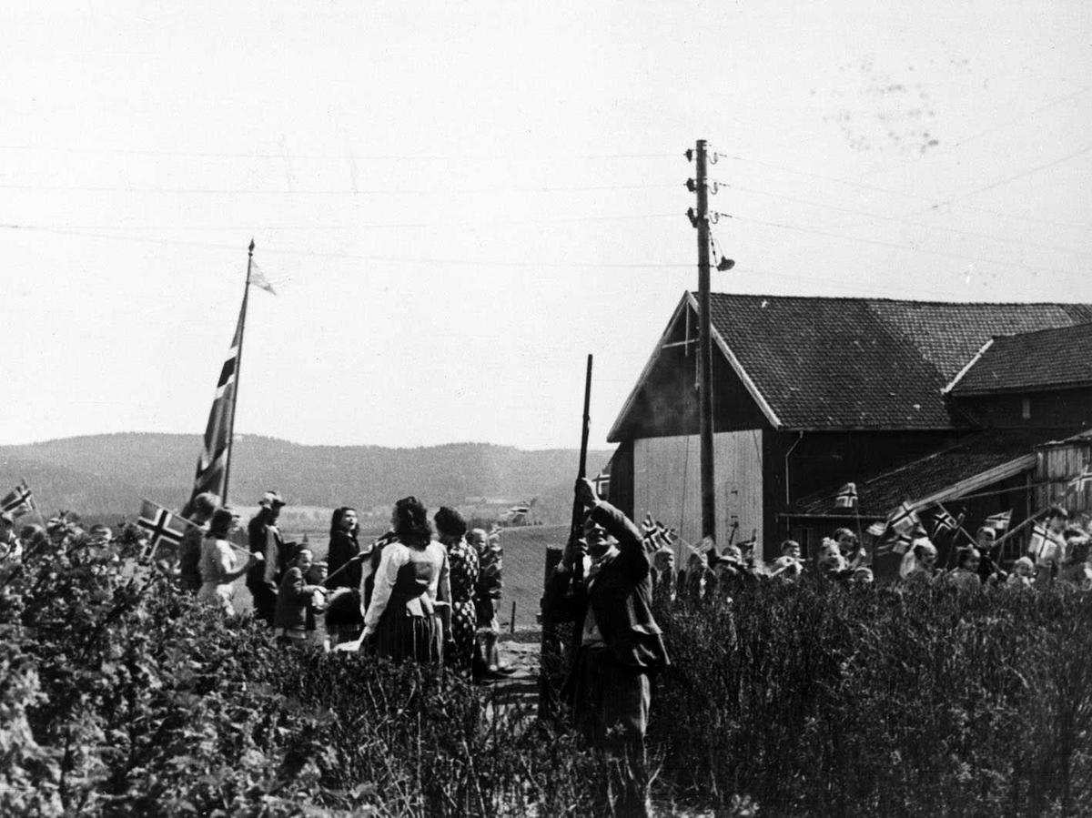 17. mai feiring  1945. Skyting av salutt med gevær.