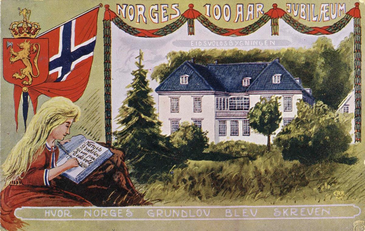 Postkort til 100-årsjubileet for Grunnloven.