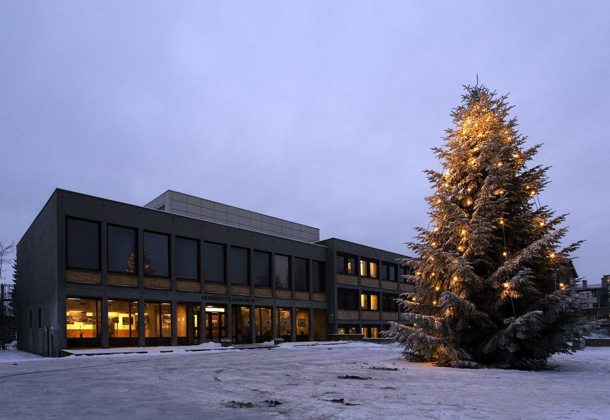 Julebelysning.  Juletreet med hvite lyslenker utenfor Akershus fylkesmuseum 2005