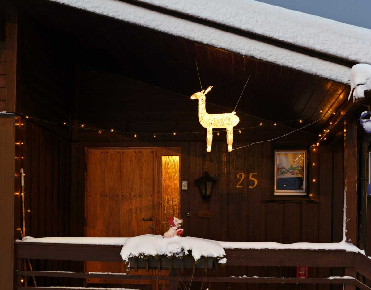 Julebelysning  Hvit lysende reinsdyr hengende ved inngangsparti ved enebolig