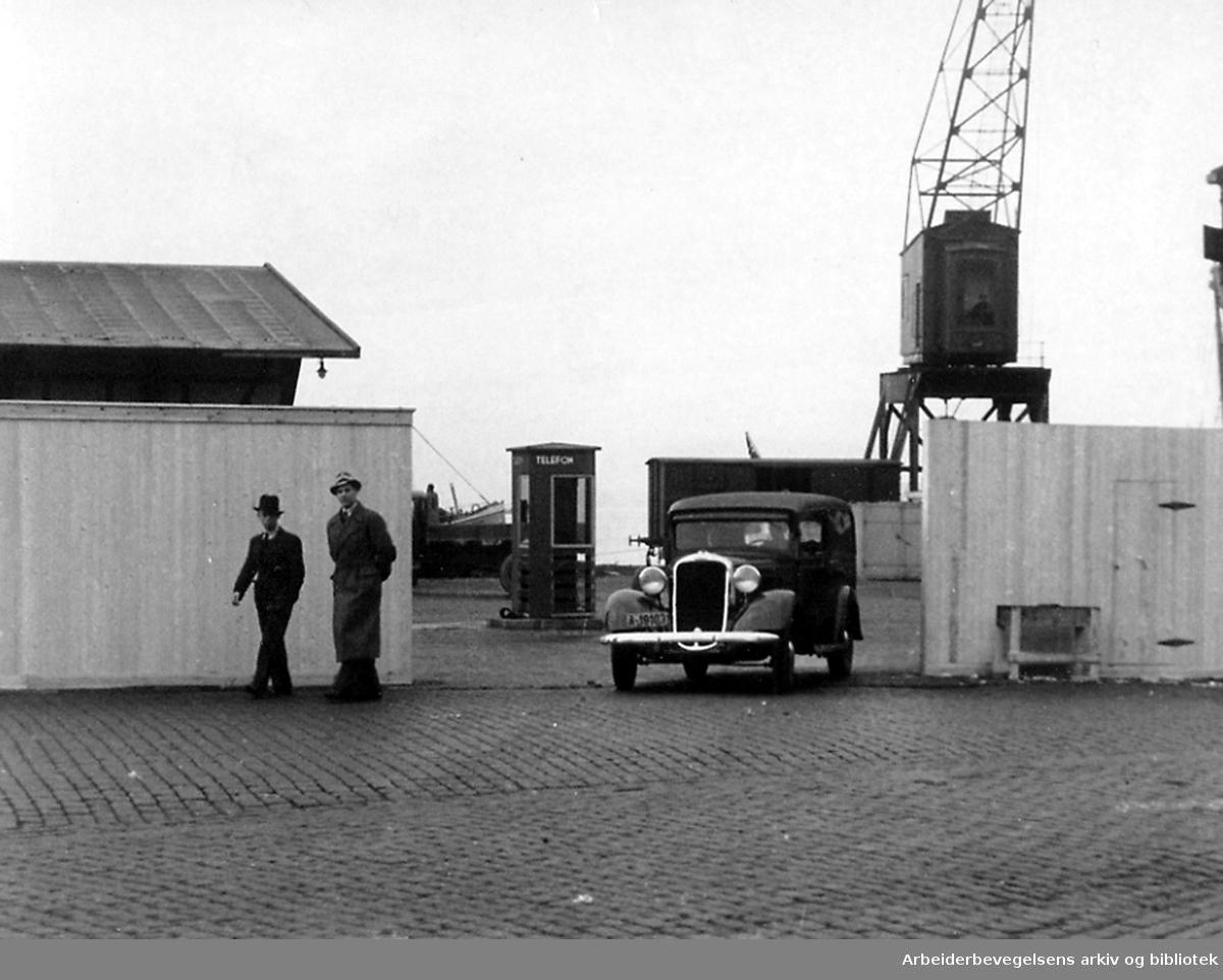 Oslo havn..Havnesperringer Vippetangen,.oktober 1939