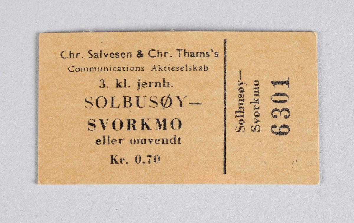 Rektangulær billett i papp for reise med Thamsbanen mellom Solbusøy og Svorkmo.