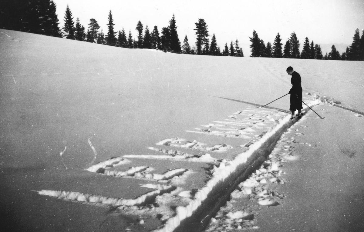 """Skiløper skriver """"Leve kongen"""" i snøen """"Vår tanke i 1941"""" 2. verdenskrig."""