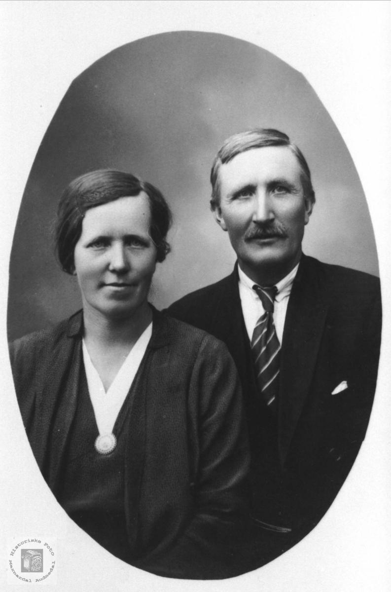 Ekteparet Karoline og Ånen Bruskeland, Laudal. Karoline fra Steinsland i Hægebostad.