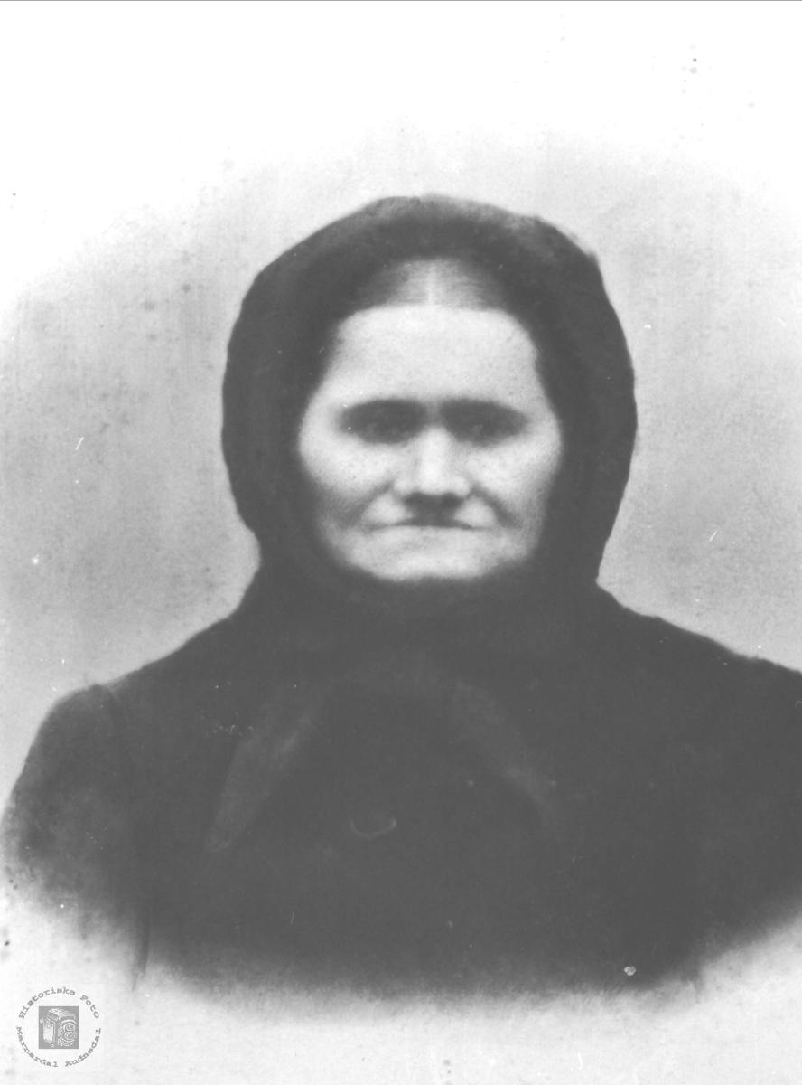 Portrett av Anna Tjomsland, Laudal gift Bue, Øyslebø.