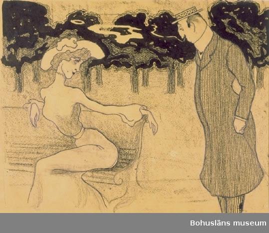 Montering/ram: Passepartout, Publicerad i Söndags-Nisse nr.12, 25/3 1906. Tillkomstort Stockholm. För uppgifter om konstnären Ragnar Ljungman, se RL001.