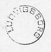 Datumstämpel, normalstämpel 18. Rund, med heldragen ram, groteskstil, årtal under datum, troligen en försöksstämpel.