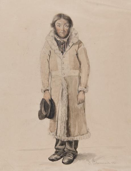 """""""Knif Per i Nås Prästgård"""". Akvarell av P Södermark 1850."""